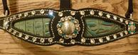 Bling Inlay Halter. Black leather, Antique Turquoise croc. inlay, Clear Crystal and Blue Zircon Swarovskis.