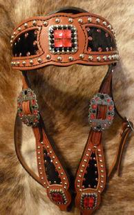 Bling Inlay Browband haedstall. Herman Oak chestnut oil leather, Black hair-on inlay, Lt. Siam and Jet Swarovskis adorn this inlay headstall! Antique Silver hardware and Silver spots.