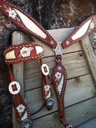 Hand tooled inlay bling tack set.