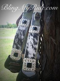 Bling aluminum barrel stirrups w/ on hide. Made on SA Walls offset aluminum stirrups.