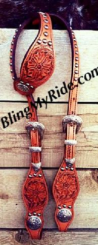 Hand tooled single ear headstall.