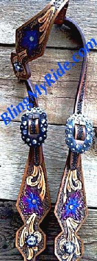 Hand tooled and painted bling single ear headstall.