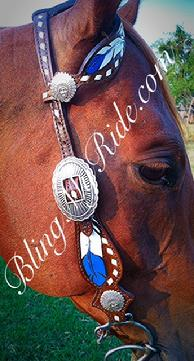 Hand tooled and painted feather single ear headstall.