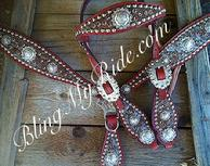 Hair on hide (hide color may vary), bling tack set. Antique silver hardware, browband headstall.