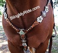 White floral cut out, hand tooled bling breast collar.