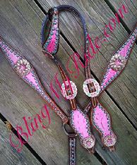 Pink croc. bling tack set w/ swarovski crystals, sleeping beauty turquoise and patina'd spots.