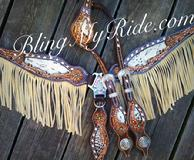 Hand tooled and buckstitched bling tack set with fringe.