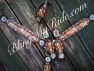 Hand tooled, painted and bcukstitched bling tack set with sleeping beauty turquoise.