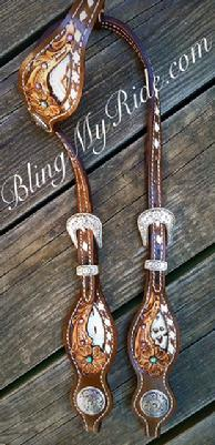 Hand tooled, inlaid and buckstitched single ear headstall with Swarovski crystals.