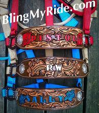 Hand tooled and painted custom bronce style noseband. Floral and scroll tooling.
