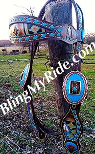 Hand tooled, painted and buckstitched browband headstall w/ custom painted hardware.