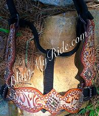Antique copper floral overlay bronc style halter with Swaraovski bling