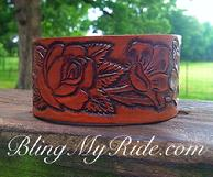 Hand tooled leather cuff bracelet with roses.