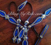 Beautiful blue, inlaid tack set,finished in medium brown dye w/single ear headstall.