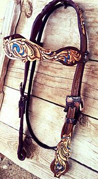 Hand tooled and painted, cut-out  browband,headstall with turquoise accents.