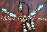 Metallic bone croc inlay bling tack set.. outlined in Golden Shadow Swarovskis.. Sparkle time!