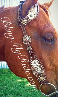 Bling and hand tooled, inlaid headstall with single ear.