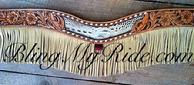 Hand tooled and inlaid tripping collar with buckstitch and fringe!