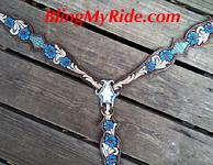 Hand tooled, painted and inlaid bling breastcollar w lt. Siam Swarovski accents