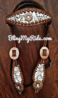 Floral embossed browband headstall.