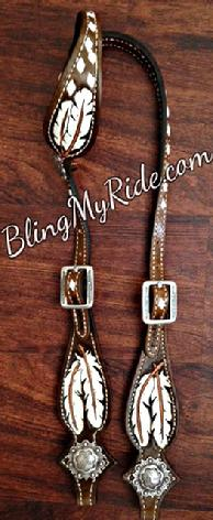 Buckstitched and hand tooled feather headstall.