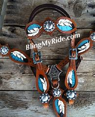 Hand tooled feather tack set w/ teal inlays, black tipped feathers and black buckstitch. Browband.