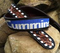 Buckstitched, hand tooled and beaded western belt.