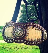 Bone croc. inlaid, bling bronc halter with Texas Star hardware and Swarovski crystals.
