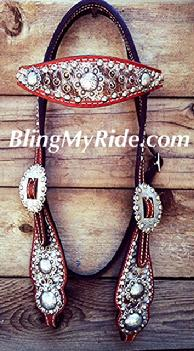 Speckle hair on hide bling browband headstall with Smoked Topaz Swarovskis.