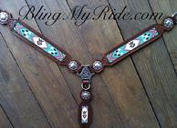 custom Beaded, hand stamped breastcollar with brand.