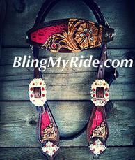 Custom hand tooled, inlaid browband headstall.