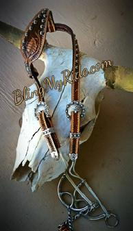 Hand tooled draw gag headstall.