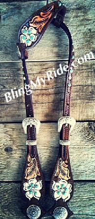 Hand tooled floral single ear headstall with sleeping beauty turquoise.