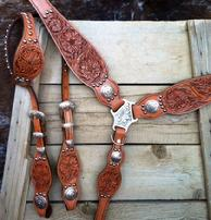 Hand tooled tack set. Sheridan tooling and antiqueing.