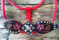 Hand tooled, buckstitched and painted halter/noseband. red.