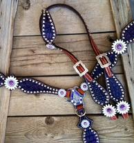 Purple daisy bling tack set.