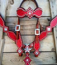 Ferrari red croc. bling tack set with browband.