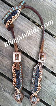 Hand tooled, scroll cut out singel ear headstall with black croc. inlay and Patina spots.