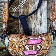 Custom hand tooled, painted and buckstitched inlaid bling brinc halter w Swarovski conchos
