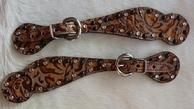 small bling spur straps. Copper floral overlay, black spots alternating w/ clear Swarovskis.
