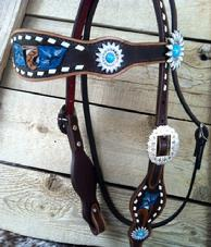 Buckstitch, hand tooled, painted bling browband headstall.