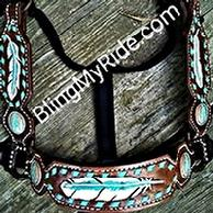 Hand tooled and painted feather halter.