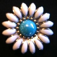 Turquoise and white flower concho.