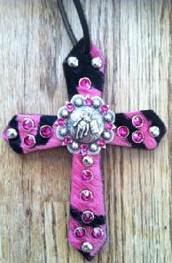 Pink zebra bling saddle cross.