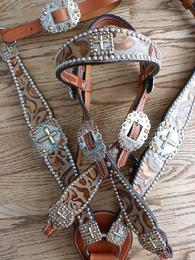 "Gorgeous Copper Floral overlay browband headstall and contoured breastcollar. Antique Silver and Gold hardware  with Copper Swarovskis! BIG 2 1/4"" conchos on the breastcollar and at the temples on the headstall. Stunning"