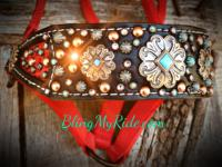 Ferrari red croc. inlay, black leather bling bronc style halter with confetti stones and spots.