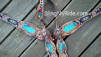 Hand tooled feather and floral, buckstitched hand painted and beaded tack set.