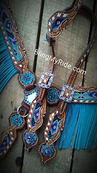 Royal blue and turquoise beaded tack set with turquoise fringe. Hand tooled and buckstitched as well!!