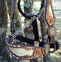 Hand tooled and buckstitched halter with tan floral embossed inlay.