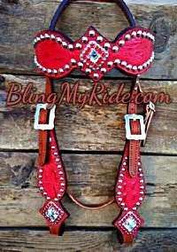 Ferrari red bling borwband headstall.
